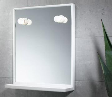 Specchio 45 x 60 con mensola e cornice in resina - Specchio con lampadine ...