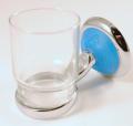 GLASS HOLDER IN BRASS  CHROMATED BLUE