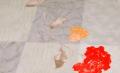 Tovaglia in tessuto antimacchia fiori /grigio
