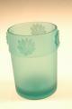 GLASS LEAF GREEN BRUSH HOLDER