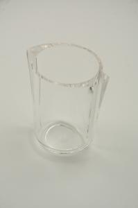 Transparent white glass.