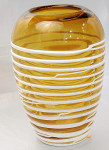 Decorative glass vase yellow with white stripes