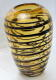 Decorative glass vase yellow with black stripes