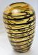 Dekorative Glasvase gelb mit schwarzen Streifen