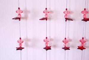 Tenda perlata stelline rosa