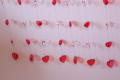 Rideau perlé avec des coeurs rouges
