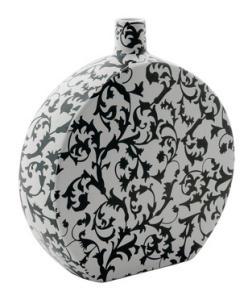 Decorative vase white / black.  Dim: 30.5x28x8 cm.
