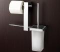 Barra con portarotolo doppio e scopino WC
