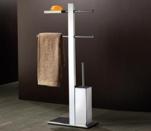 Stand avec support, porte-savon, porte-serviettes coulissant et brosse de toilette