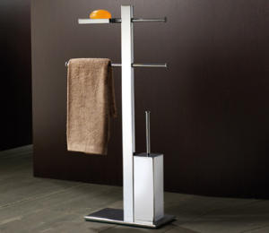 Stand with holder, soap dish, towel rail sliding and toilet brush