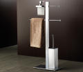 Stand with holder, soap dispenser, toilet brush and towel sliding