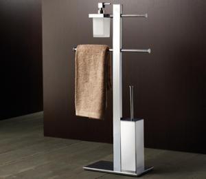 Stativ mit Halterung, Seifenspender, WC-Bürste und Handtuch Schiebetüren
