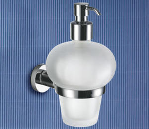 Distributeur de savon chromé avec bec verseur    10x12, 5x18 cm