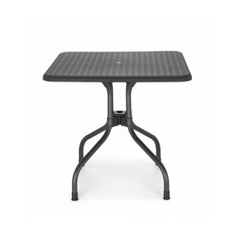 TABLE SQUARE OLIMPO 80 X 80  PIANO NOIR-SCAB