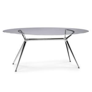 TABLE METROPOLIS 180 X 100 GRIS FUME' CHROMÉ