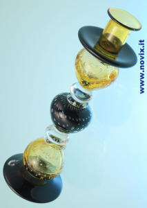 CANDLE HOLDER BLOWN GLASS