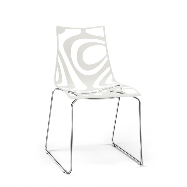 WAVE  SLED CHAIR TRANSPARENT + LINO