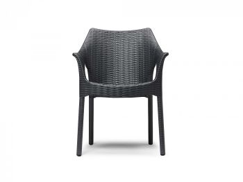 OLIMPIA ANTHRACITE ARMCHAIR WITH PAINTED LEGS