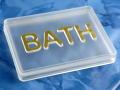Soap BATH Acrylic transparent gold.